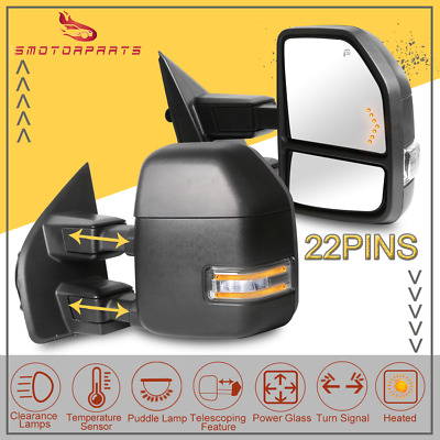 LH+RH 2015-18 Ford F150 Power//Heated//Puddle//LED Signal Tow Chrome Mirror 22 Pins