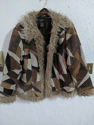 Vintage Patchwork real Leather hook front Jacket Coat Large 18W faux fur