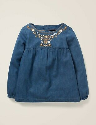 Mini Boden Girls Top 5-6 Embroidered Butterfly Floral Chambray Floaty T-Shirt