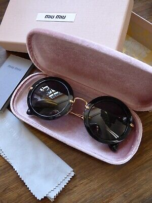 Miu Miu SMU 13N 49/26 Noir Round Black Sunglasses with Case