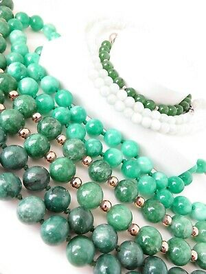 Four Vintage Green Jade Chinese Necklace's Bead's & Bracelet Heavy 239.0 Grams