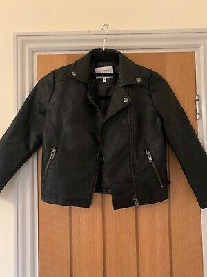 Girls Faux Leather Bikers Jacket Black Age 8 years Outfit Kids