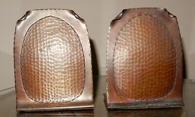 "Craftsman Studios Copper Bookends, Hammer Panel, 5"" T x 4"" W, stamped logo 1920s"