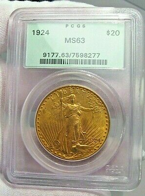 BU 1924 $20 PCGS MS63 GOLD St. Gaudens Double Eagle. OGH - Old Green Holder.