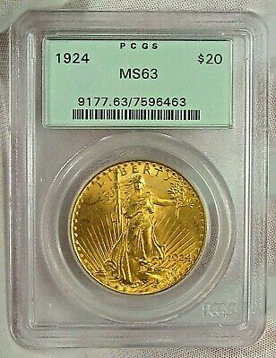 BU 1924 $20 PCGS MS63 GOLD St. Gaudens Double Eagle. OGH - Old Green Holder. #2