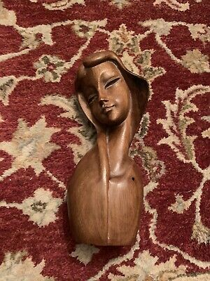 Wooden Mid Century Hand Carved Madonna Bust Statue Woman Long Hair