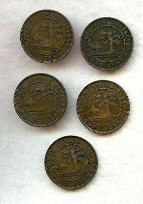 Canada  ~ Prince Edward Is. ~ 1871 ~ Large Cent Lot ~ F-Vf ~ 5 Coins