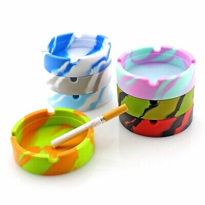 Glow in the Dark Silicone Round Ashtray Heat Resistant Camouflage Container UK