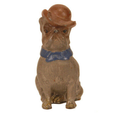 Antique Toy German Bulldog in Bowler Hat c. 1910 - Dapper Vintage Dog Figure