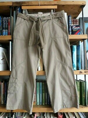 MARKS & SPENCER Size 16 Crop or Long Length Stone/Brown Cotton Wide Leg Trousers