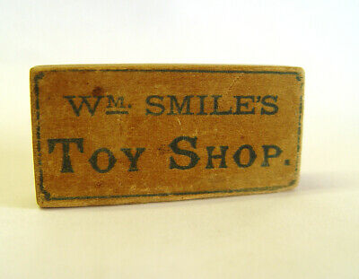 ORIGINAL 1930s TINY SMILES TOY SHOP BOX & COX HATTERS MINI WOOD ADVERTISING SIGN