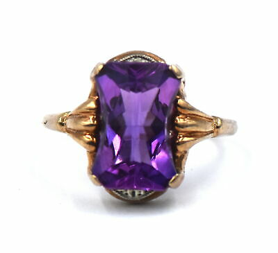Antique Art Deco Purple Spinel Band Ring 10K White Yellow Gold Size 6.5