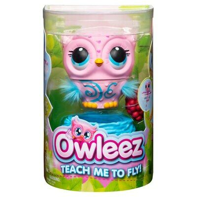 Owleez Flying Baby Owl Interactive Toy - Pink White Brand New Fast Postage