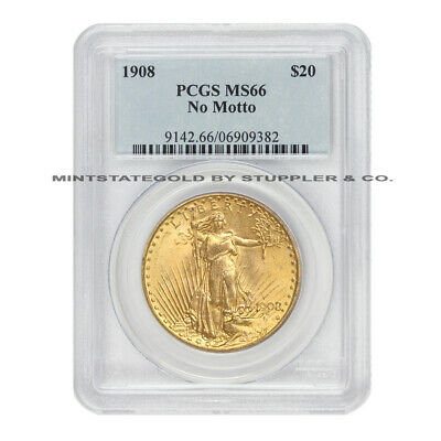 1908 $20 Saint Gaudens PCGS MS66 NM No Motto Gem graded Gold Double Eagle coin