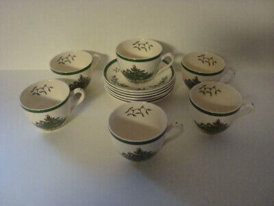 6 Spode Christmas Tree Coffee, Tea Cups and Saucers S3324