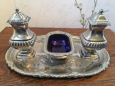 Vintage Silver Plated Cruet Set With Silver Plated Tray