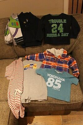 Bundle of boys clothes jumpers, sleepsuits, t shirts, jacket age 18-24months
