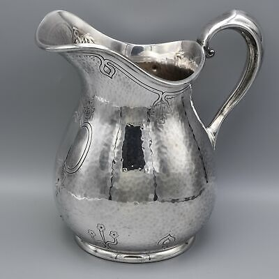 Reed & Barton Silver Plated Hammered Etched Water Pitcher #5502 9