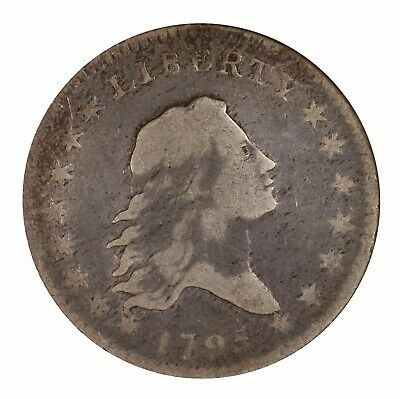 1795 Flowing Hair 50C ANACS Certified F12 Early US Silver Half Dollar Coin