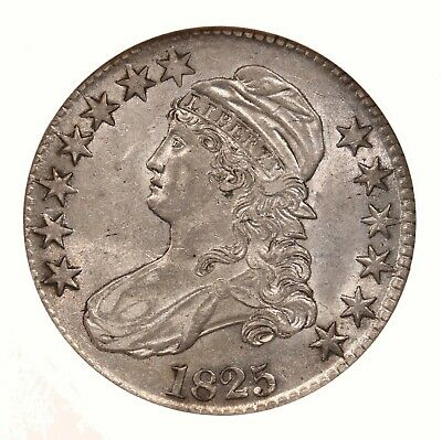 1825 Capped Bust 50C NGC Certified AU53 O-108 Early US Silver Half Dollar Coin