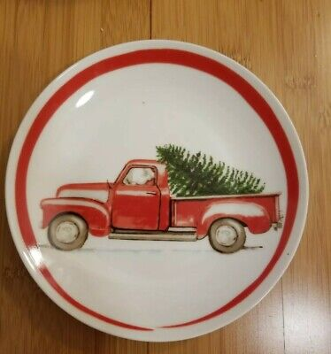 222 FIFTH Set of 4 Ceramic Red Truck CHRISTMAS Tree Dessert Plate/ Dish,Gift New