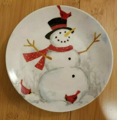 222 Fifth Set of 4 Ceramic CHRISTMAS Snowman Dessert Plates/ Dishes, Gift  New