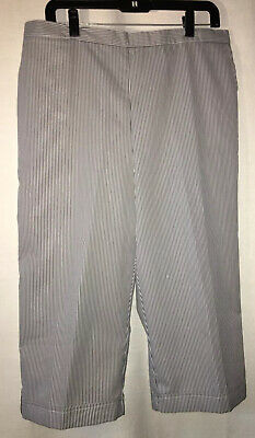Alfred Dunner Size 16 Chambray Blue Seersucker Striped Capri Pants St. Augustine