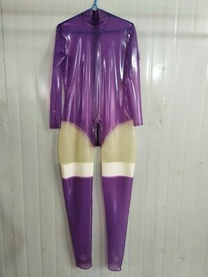 New Latexanzug Zentai Kostüm 100%Rubber Gummi Ganzanzug Purple&Transparent S-XXL