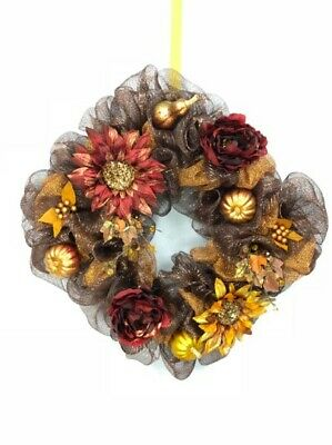 Fall Thanksgiving Pilgrim Wreath Deco Mesh Harvest Door Decor with Legs /& Hat