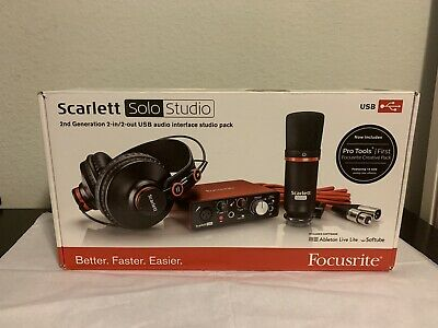 Focusrite Scarlett Solo Studio Pack 2nd Gen (includes pop filter and micstand)