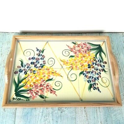 Gail Pittman Garden View Tiled Serving Tray Wood Frame Handle Signed Art Pottery