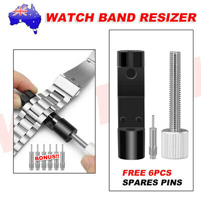 Watch Band Bracelet Repair Tool Link Pin Remover 6 Replace Pins Metal Adjustable