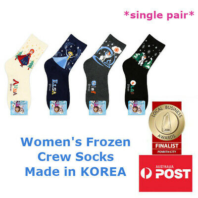 Women's Disney Frozen Elsa Anna Olaf Crew Length Socks Made in KOREA SINGLE PAIR