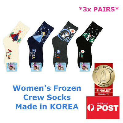 Women's Disney Frozen Elsa Anna Olaf Crew Length Socks Made in KOREA 3 FOR $9.99