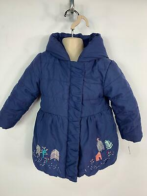 Girls Marks&Spencer Baby Blue Padded Hood Rain Coat Jacket Kids Age 18/24 Months