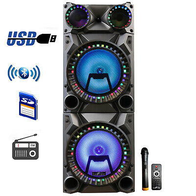 """BEFREE SOUND 12"""" DUAL SUBWOOFER BLUETOOTH PORTABLE DJ PA PARTY SPEAKER w/LIGHTS"""