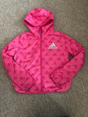 Girls Hot Pink Adidas Waterproof Jacket, Age 13-14 Years, Great Used Condition