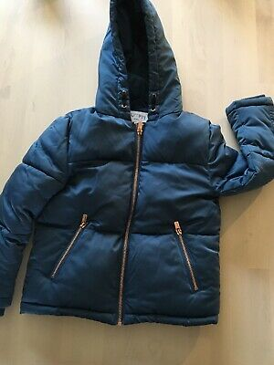 Outfit Kids Girls Blue  Hooded Puffa Jacket Age 7 Rose Gold Zip