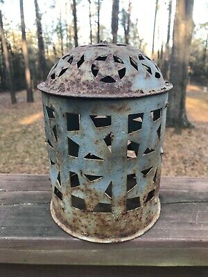 primitive punched tin lantern American folk art early lighting barn find