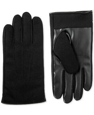 $175 Isotoner Signature Mens Black Smartouch Faux Leather Driving Gloves Size XL