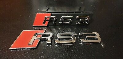 RS3 Badge Emblem Decal Sticker Logo A3 S3 RS Audi boot lid rear and front grill
