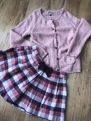 Girls Baby Pink Cardigan & Checked Skorts by SERGENT MAJOR - 8/9y