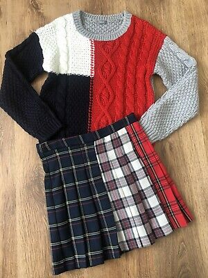Girls Red/Navy Patch Jumper by NEXT & Matching Check Kilt Skirt by ZARA - 8/9y