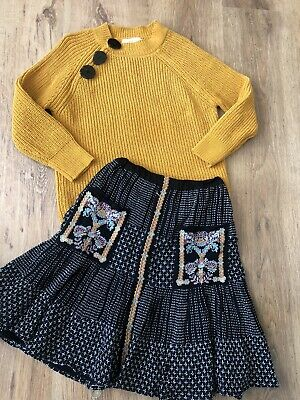 Girls Ochre Yellow Thick Knit Jumper & Matching Skirt by ZARA - 7y