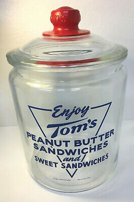 """Large """"TOM'S Peanut Butter Sandwich Display Jar-With Lid"""