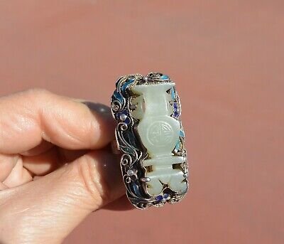 Chinese 1900's White Jade Carved Carving Sterling Silver Enamel Filigree Ring