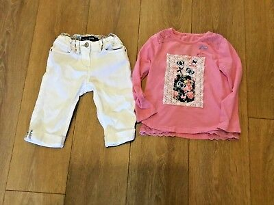 Bundle Girls Clothes Age 3 - 4  Years 1 Pr White Cropped Trousers 1 Pink Top