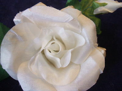 Vintage Millinery Flower White Rose Boutonniere G39