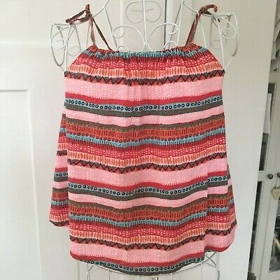 Used Pretty Zara Girls Strappy Summer Printed Top Age 9-10 Years