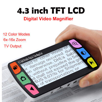 """4.3""""LCD Video Magnifier Portable Handheld 6x-16x Zoom Reading Aid 12 Color Modes"""